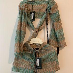 Mint Tie Waist Shorts & Tie Front Bardot Crop Top